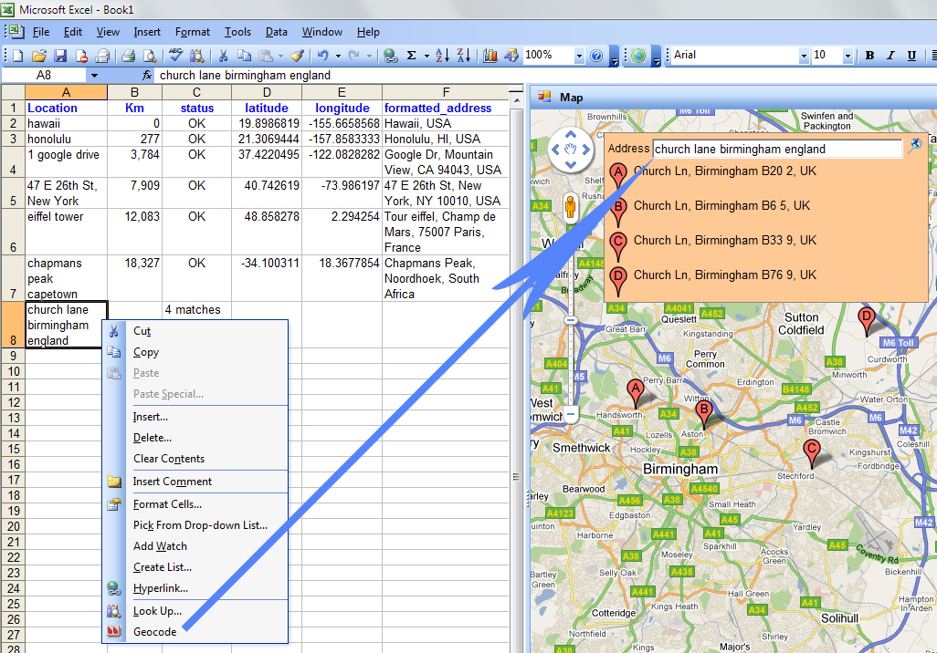 GeodesiX – Geocoder, Great Circle Distance and Google Maps in Excel
