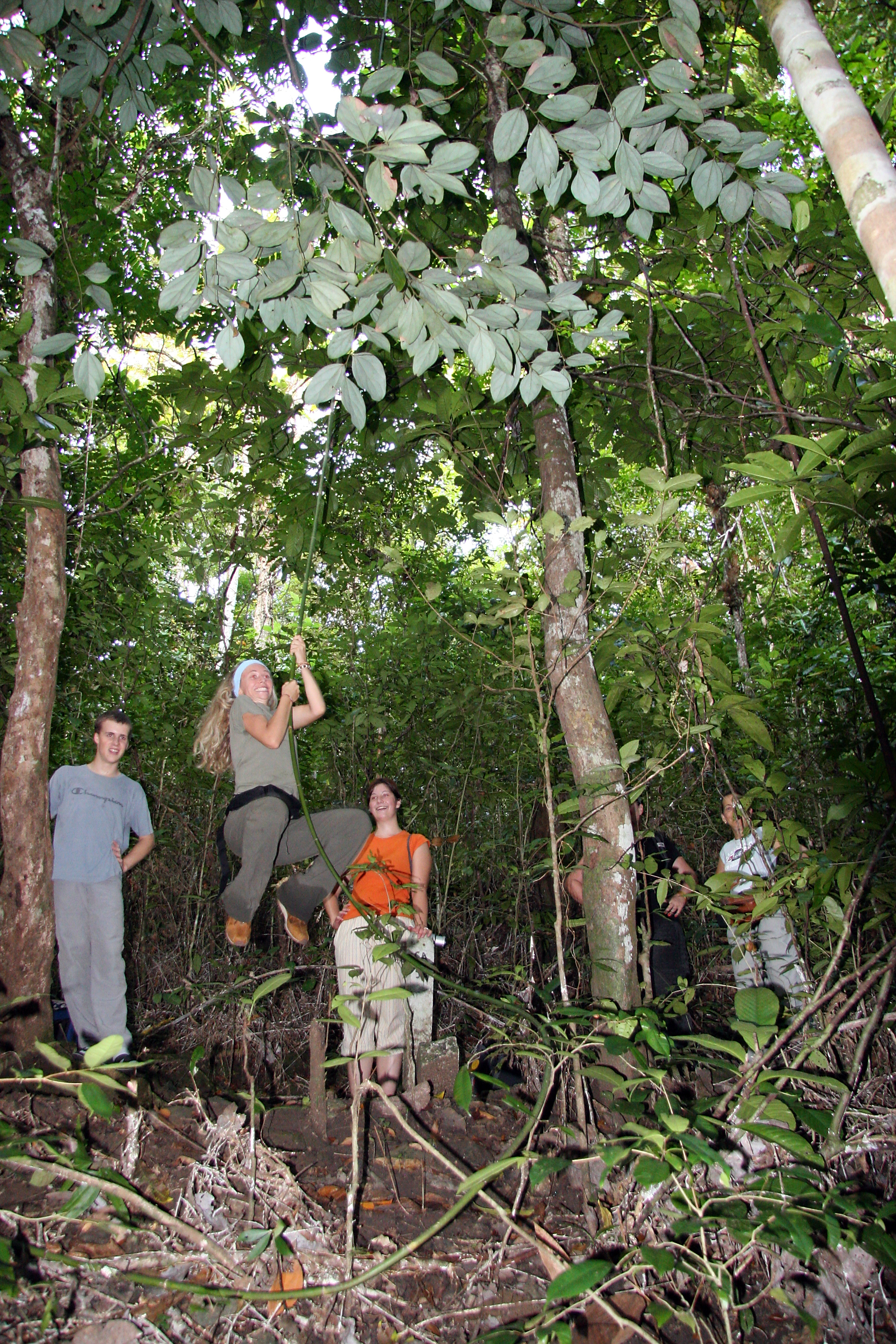 Penanjung nature reserve. Playing Tarzan on the vines, Java Pangandaran Indonesia 1.jpg - Indonesia Java Pangandaran. Penanjung nature reserve. Playing Tarzan on the vines